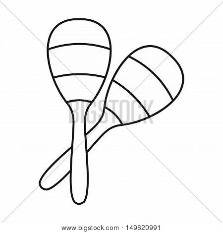 Maracas icon in outline style on a white background vector illustration