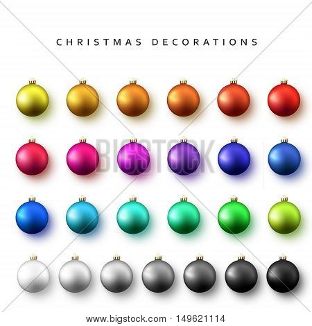 Christmas decoration balls range. Gloss Christmas balls isolated on a white background realistic vector illustration