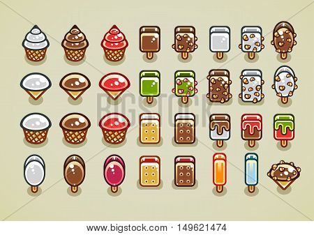 Big set of different colorful ice creams