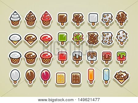 Set of different 32 2D ice creams