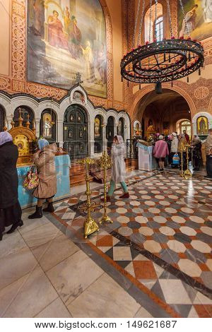 Jerusalem, Israel - February 16, 2013: Christians Praying Inside Mary Magdalene Convent