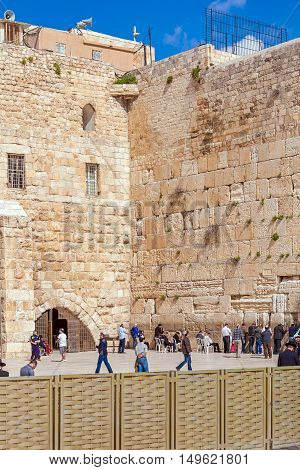 Jerusalem, Israel - February 17, 2013: People Praying Near Western Wall