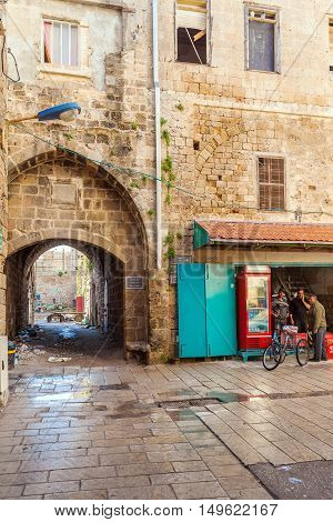 Acre, Israel - February 18, 2013: Sellers Near Street Shops In Old City