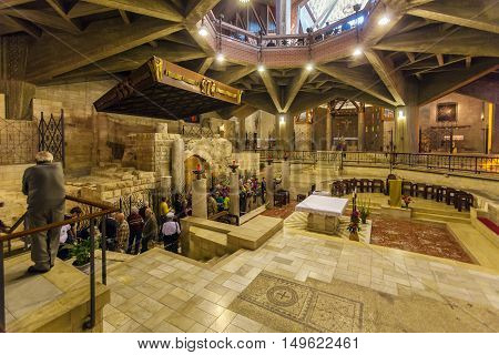 Nazareth, Israel - February 21, 2013: Interior Of Annunciation Cathedral