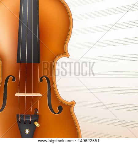 violin on musical sheet background. vector illustration