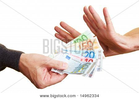 Hands Rejecting Money
