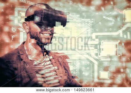 Man wearing virtual simulator headset against virus background