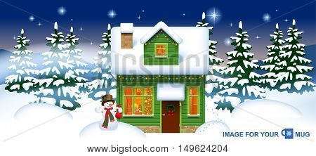 Green wooden house with a snowman in the winter forest. Easy to insert on a classic mug. Christmas and New Year greeting card. Vector illustration
