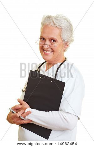 Happy Doctor With Clipboard