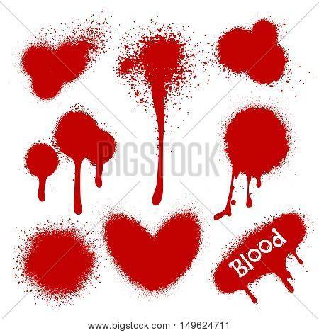 Blood splatters isolated on white background. Vector illustration