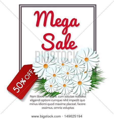 Mega sale banner with sale tag and camomile bouquet vector