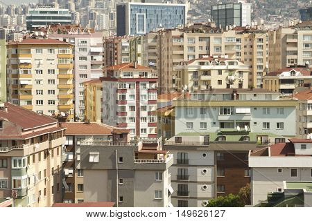 City landscape and city mess with different colors buildings