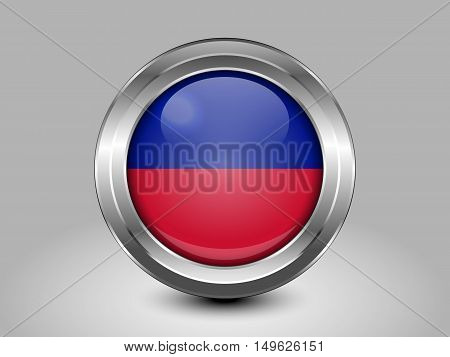 Flag Of Haiti. Metal And Glass Round Icon