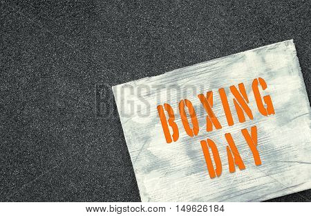 Upcoming holiday announcement Boxing day. Text written on white wooden rustic background