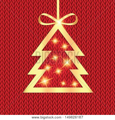 Poster for New Year with Christmas tree on the knitted background.Happy New Year background with Christmas tree