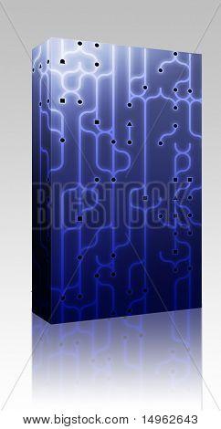 Ilustración de Resumen de caja de paquete de software de diseño de circuitos electrónicos patrón