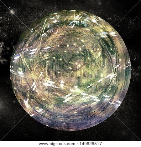 Digitally generated image of illuminated globe on white background
