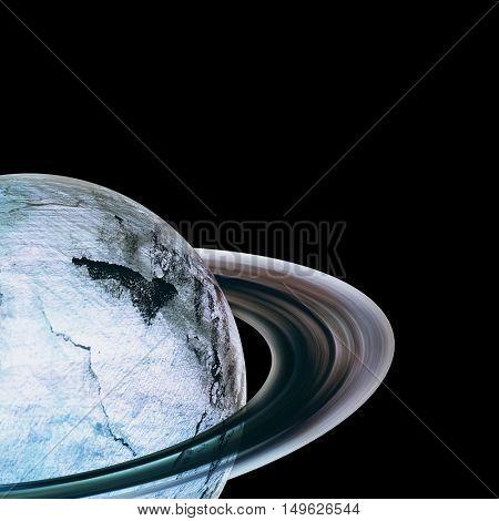 Digital image of saturn against white background