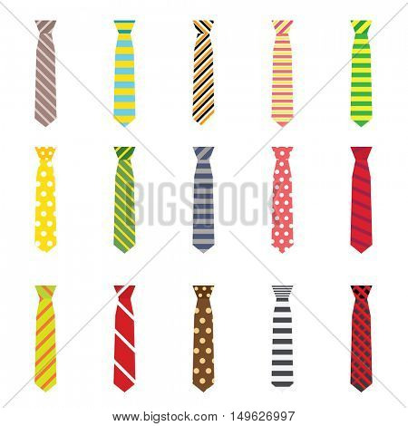 Set of Ties Isolated on White Background. Vector Illustration.