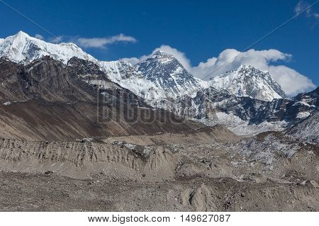 Mount Everest Peak (sagarmatha, Chomolungma) - The Top Of The World (8848 M). View From Gokyo Ri Of