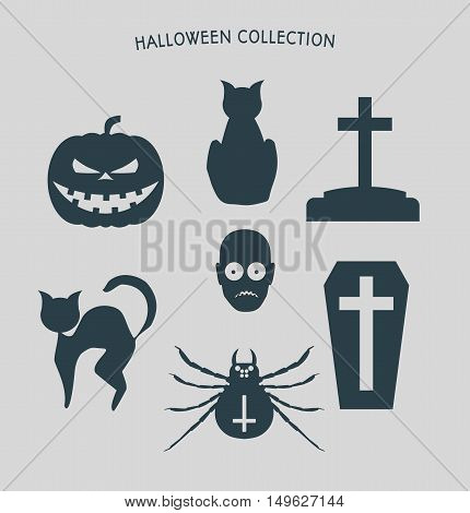 Set of silhouettes. Halloween party icons collection