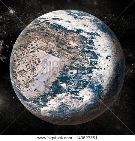 Digital composite image of globe over white background
