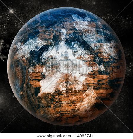 Digitally generated image of earth on white background