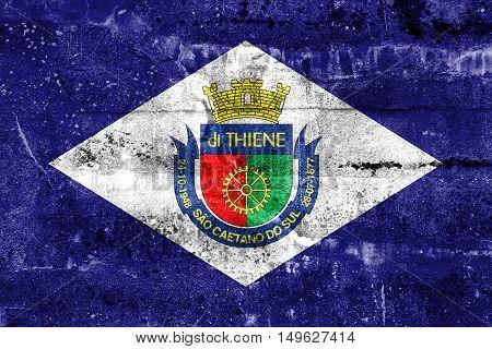 Flag Of Sao Caetano, Sao Paulo, Brazil, Painted On Dirty Wall