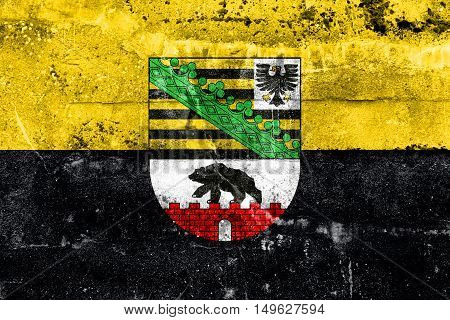 Flag Of Saxony-anhalt With Coat Of Arms, Germany, Painted On Dirty Wall