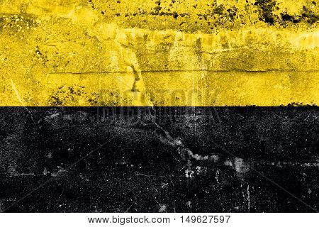 Flag Of Saxony-anhalt, Germany, Painted On Dirty Wall