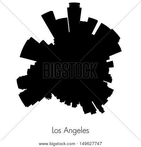 Los Angeles Planet circular skyline silhouette. Vector illustration