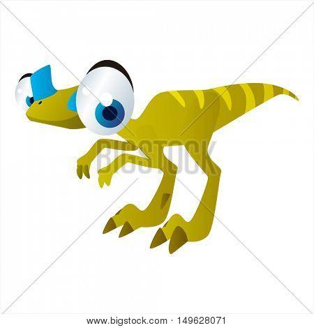 cute vector comic cartoon animal. Cool colorful Oviraptor Dinosaur