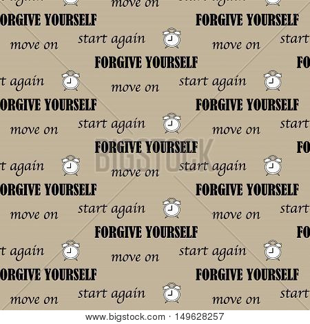 conceptual inspiration quote text of €œstart again forgive yourself and move on€ pattern background vector illustration with alarm clock in cartoon style. This quote will urge to do what need to.