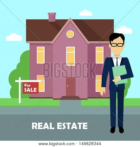 Real estate realtor on the background of purple house with brown roof. Real estate agent, house building, property home, realtor and rent, sale housing, buy apartment. Real estate concept.