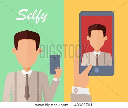 Selfy on smartphone. Young man taking own self portrait with mobile phone. Modern life with selfie photo camera. Selfie smile concept. Man shows his photo on displlay. Vector illustration