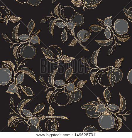Seamless pattern with black and golden apple sketch. Great for traditional medicine, perfume design, cooking or gardening.
