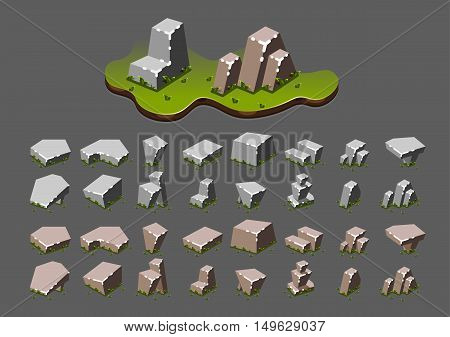 Isometric stones with grass for creating video games