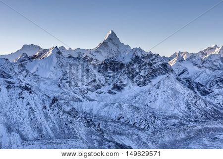 Ama Dablam Mountain Landscape. Sharp Mountain Peak Standing Out Among Himalayan Mountain Range. Amaz