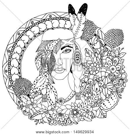 Vector illustration , Native American girl in round frame. Doodle floral drawing. A meditative exercises. Coloring book anti stress for adults. Black and white.