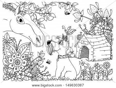 Vector illustration zentangl a horse and a dog in the flowers. Doodle floral drawing. A meditative exercises. Coloring book anti stress for adults. Black and white.