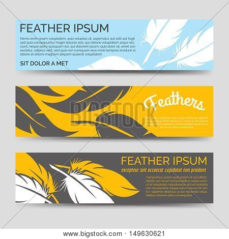 Feathers yellow and blue horizontal banners template vector set