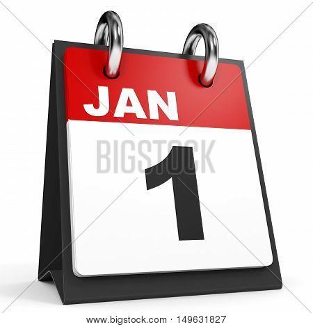 January 1. Calendar On White Background.