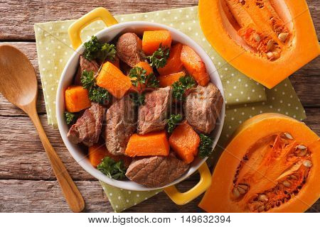Healthy Food: Beef Stew With Pumpkin And Spices Closeup. Horizontal Top View