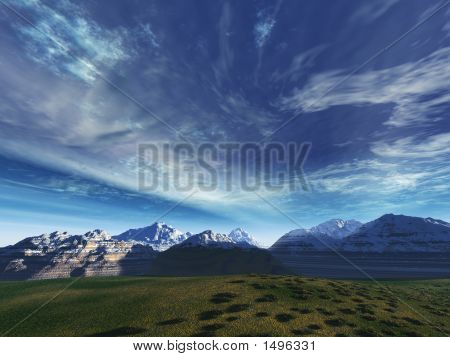 Storm Sky Above Snow Tops Of Mountains