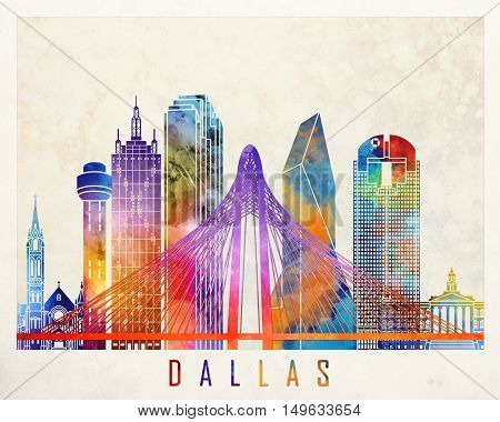 Dallas landmarks in artistic abstract watercolor poster