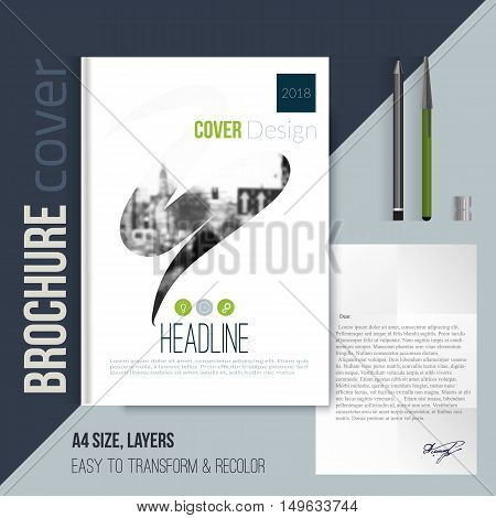 brochure cover template with blurred city landscape in abstract shape for flyer, professional corporate identity, presentations