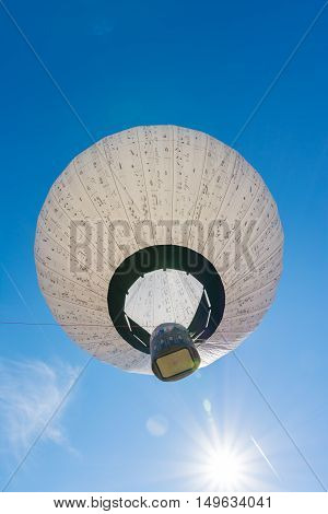 Blue Sky Hot Air Balloon Music Note Pattern Flying Sunny