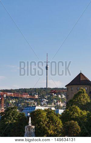 Stuttgart Germany Europe Tv Tower Monument Architecture Travel Landscape Schlossplatz