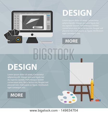 Vector flat banners of graphic web design and art for website. Business concept of creative process and design market. Set of isolated drawing equipment.