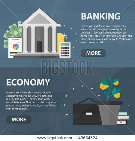 Vector flat horizontal banners of banking and economy for website and infographics.